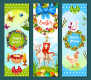 Easter spring holiday festive banner set design. Easter spring holiday festive banner set. Decorated Easter egg on green grass, rabbit bunny, chicken, chick Stock Photography