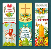 Easter spring holiday festive banner set design. Easter egg festive banner set. Decorative Easter eggs with spring flower and butterfly, lamb of God with cross Royalty Free Stock Image