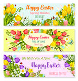Easter spring holiday greeting vector banners set Royalty Free Stock Images
