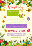 Easter spring holidays celebration poster template. Easter egg hunt rabbit bunny with patterned eggs hidden in green grass, lily and snowdrop flowers, willow Stock Photography