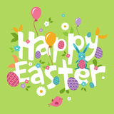 Easter, spring inscription with the hare, flowers Royalty Free Stock Photo