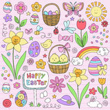 Easter Spring Notebook Doodles Vector Set