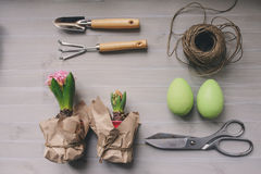Easter and spring preparations. Hyacinth, eggs and garden tools on table, top view Royalty Free Stock Image
