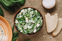 Easter spring salad with green garlic, wild leak Stock Photo