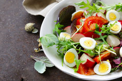 Easter Spring salad with quail eggs, tomatoes Royalty Free Stock Photography