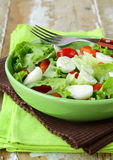 Easter Spring salad with quail eggs, tomatoes Royalty Free Stock Photos