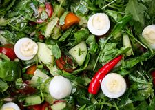 Easter Spring salad with quail eggs, tomatoes and cucumbers stock photography
