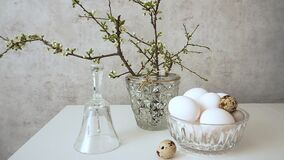 Easter spring still life with glass bell