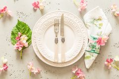 Easter, spring or summer table setting design from above Stock Photo