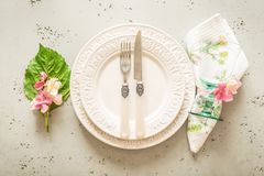 Easter, spring or summer table setting design from above Stock Images