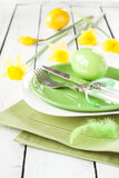 Easter or spring table setting with daffodils Royalty Free Stock Images