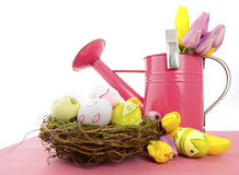 Easter Spring theme pink watering can and nest Stock Images