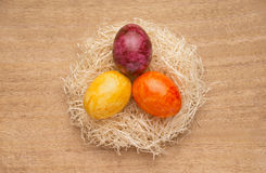 Easter or spring themed background with colored eggs Royalty Free Stock Image