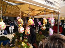 Easter spring traditions Poland. Lipnica Murowana, Poland - April 14, 2019: Easter Contest. Easter palms waiting for jury rating. Traditional tradition in small royalty free stock photo