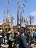Easter spring traditions Poland. Lipnica Murowana, Poland - April 14, 2019: Easter Contest. Easter palms waiting for jury rating. Traditional tradition in small royalty free stock photography