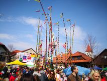 Easter spring traditions Poland. Lipnica Murowana, Poland - April 14, 2019: Easter Contest. Easter palms waiting for jury rating. Traditional tradition in small stock photo