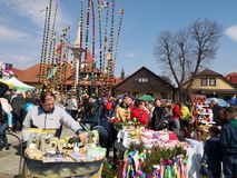 Easter spring traditions Poland. Lipnica Murowana, Poland - April 14, 2019: Easter Contest. Easter palms waiting for jury rating. Traditional tradition in small stock photos