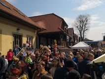 Easter spring traditions Poland. Lipnica Murowana, Poland - April 14, 2019: Easter Contest. Easter palms waiting for jury rating. Traditional tradition in small stock images