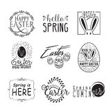 Easter and spring wishes lettering labels design set Stock Photography