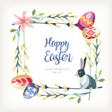 Easter square background with bunny sits on the pussy-willow stock illustration