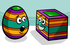 Easter square egg cartoon illustration Stock Image