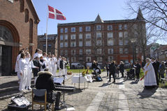 EASTER STAURDAY CHURCH YARD CHURCH. Copenhagen.Denamrk _04 April 2015_Sundby luther church holds easter saturday yard service for general public 48 prcents are stock images