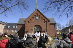 EASTER STAURDAY CHURCH YARD CHURCH. Copenhagen.Denamrk _04 April 2015_Sundby luther church holds easter saturday yard service for general public 48 prcents are stock photos