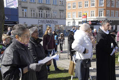 EASTER STAURDAY CHURCH YARD CHURCH. Copenhagen.Denamrk _04 April 2015_Sundby luther church holds easter saturday yard service for general public 48 prcents are royalty free stock photos