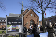 EASTER STAURDAY CHURCH YARD CHURCH. Copenhagen.Denamrk _04 April 2015_Sundby luther church holds easter saturday yard service for general public 48 prcents are stock photo