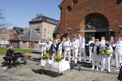 EASTER STAURDAY CHURCH YARD CHURCH. Copenhagen.Denamrk _04 April 2015_Sundby luther church holds easter saturday yard service for general public 48 prcents are royalty free stock images