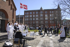 EASTER STAURDAY CHURCH YARD CHURCH. Copenhagen.Denamrk _04 April 2015_Sundby luther church holds easter saturday yard service for general public 48 prcents are stock photography