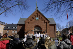 EASTER STAURDAY CHURCH YARD CHURCH. Copenhagen.Denamrk _04 April 2015_Sundby luther church holds easter saturday yard service for general public 48 prcents are stock image