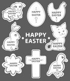 Easter sticker collection, cute animals Royalty Free Stock Photo