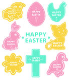 Easter sticker collection, cute animals Royalty Free Stock Images