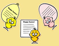 Easter stickers with the chicken, vector Stock Images