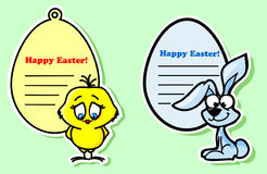Easter stickers with the chicken  vector Royalty Free Stock Images
