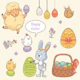 Easter Stickers. Set of stickers with cute Easter characters Stock Images
