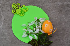 Easter still with Easter egg and Snowdrop flower. Easter still with Easter egg, Snowdrop flower, green butterfly on green rounded shape stock photos