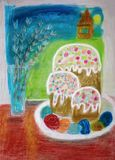 Easter still lif.Hand-painted easter still life royalty free illustration