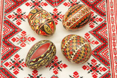 Easter still life. Romanian painted Easter eggs on a traditional towel Royalty Free Stock Photography