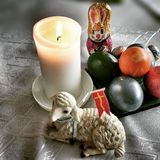Easter still life. Artistic look in vintage vivid colours. Stock Photos