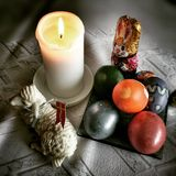 Easter still life. Artistic look in vintage vivid colours. Royalty Free Stock Image