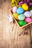 Easter still life with basket eggs rabbit Royalty Free Stock Image