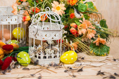 Easter still life. Bird cage with quail eggs and spring flowers Stock Photos