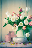 Easter still life bouquet spring tulips Stock Images