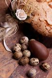 Easter Still Life With Cake And Eggs Stock Image