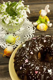 Easter still life with cake and flowers Royalty Free Stock Photo
