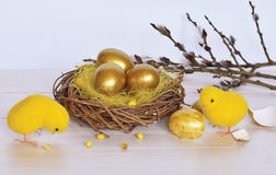 Easter still life with chickens Royalty Free Stock Photo