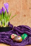 Easter still life with colored eggs and flowers Crocus Stock Photography