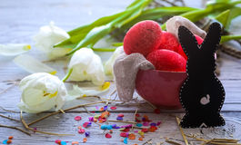 Easter still life with colored eggs and  rabbit Royalty Free Stock Images